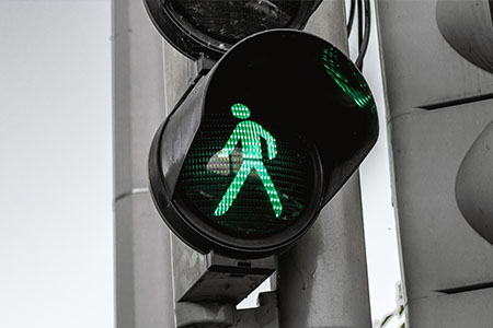 traffic light with green light lit
