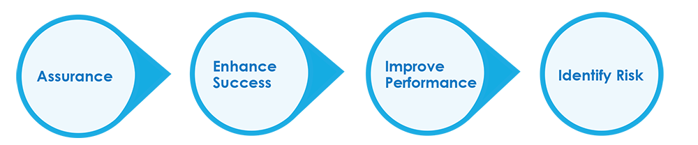 Circle process graphic highlighting health check objectives